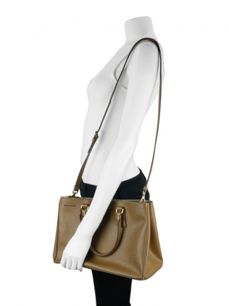 Bolsa Prada Double Zip Medium Saffiano Lux Caramelo