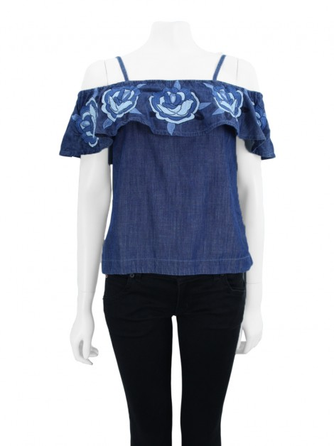 Blusa Mixed Bordado Jeans