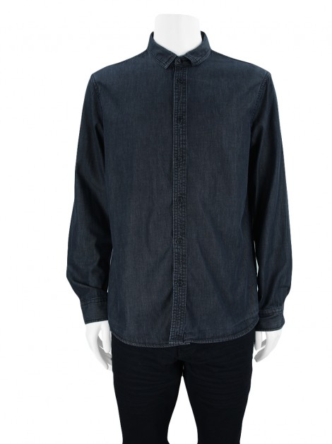 Camisa Armani Exchange Denim Preta Estonada Masculina