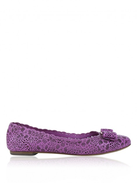 Sapatilha Salvatore Ferragamo Varina Bow Perforated Rosa