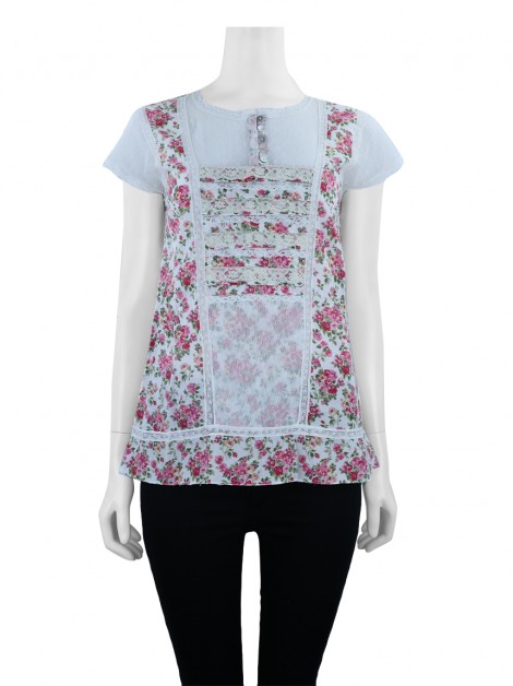 Blusa Mixed Tule Floral