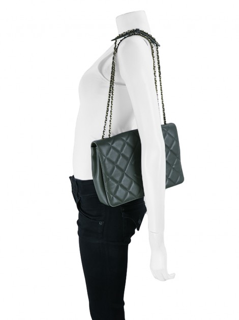Bolsa Chanel Diamond CC Flap Cinza