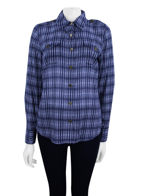 Camisa Tory Burch Estampa Azul