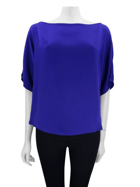 Blusa Milly Seda Azul Royal