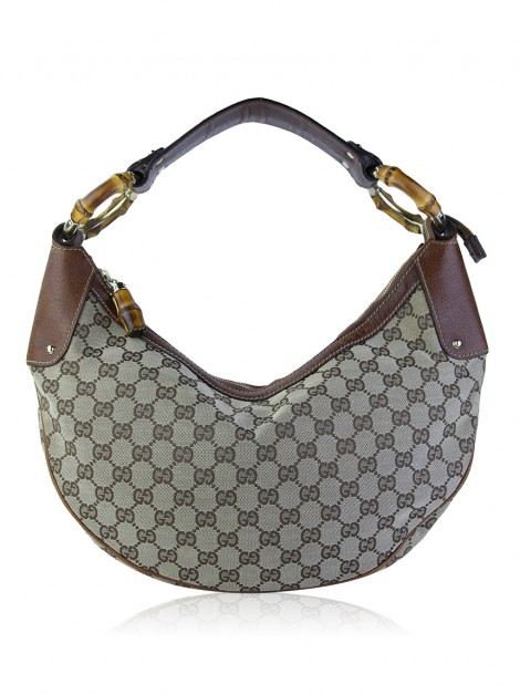 Bolsa Gucci Bamboo Ring Hobo GG Canvas
