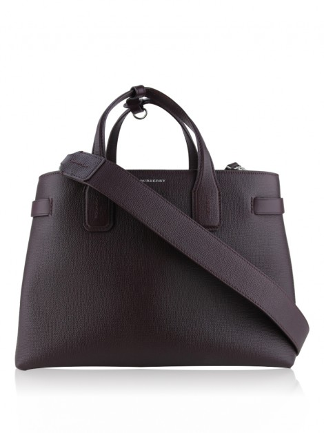 Bolsa Burberry Derby Calfskin House Check Medium Banner Tote Burgundy