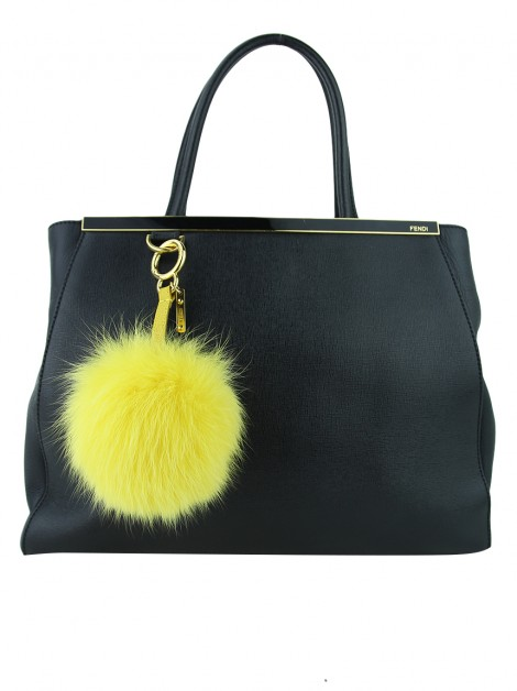 Chaveiro Fendi Fox Fur Pom Pom Charm Yellow