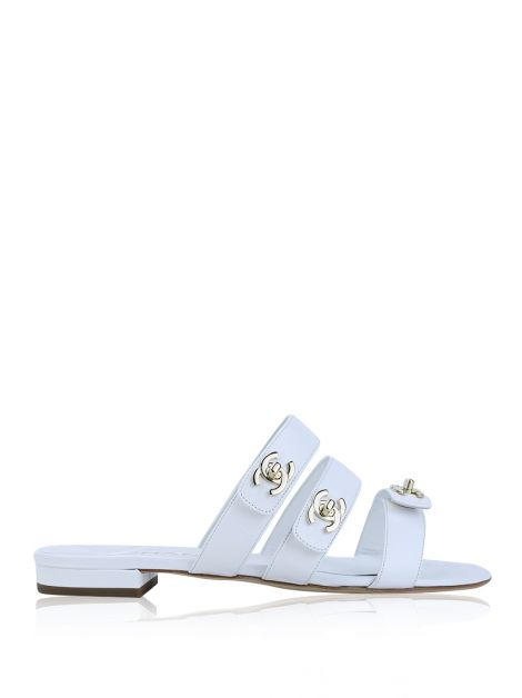 Mule Chanel CC TurnLock Branco