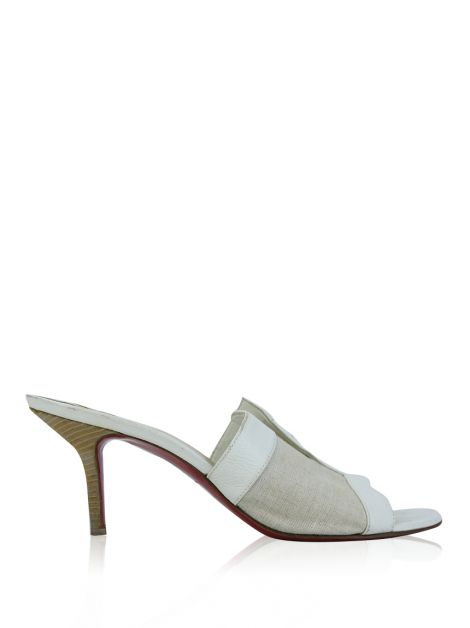 Mule Christian Louboutin Couro Off White