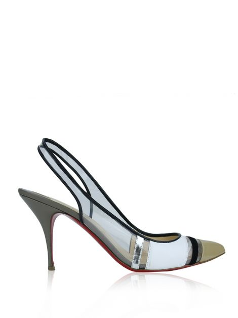 Sapato Christian Louboutin Highway Transparent Slingback Pumps