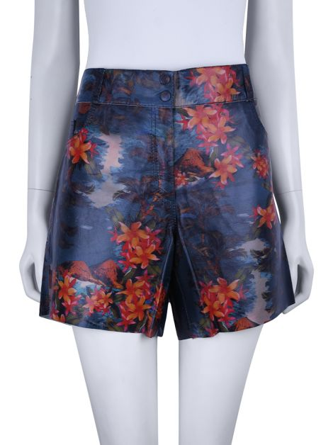 Shorts A. Brand Couro Estampado Tropical