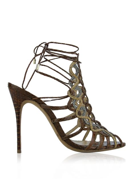 Sandália Alexandre Birman Lace-Up Tricolor