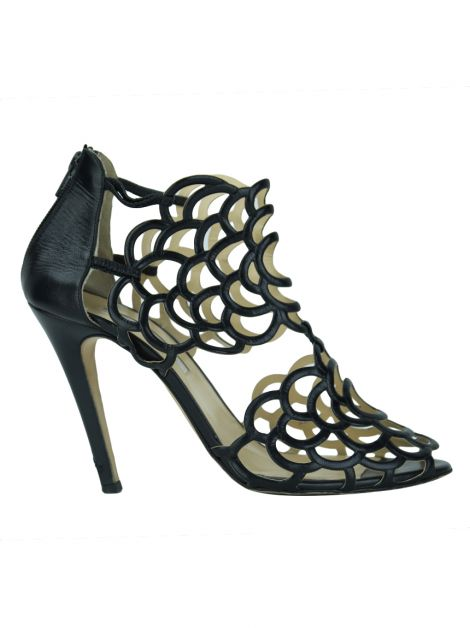 Sandália Oscar De La Renta Black Leather Gladia Cutout