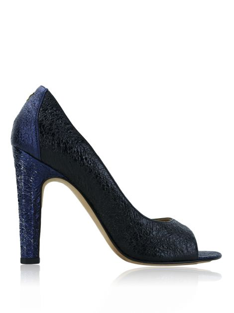 Sapato Chanel Crinkled Open Toe Bicolor