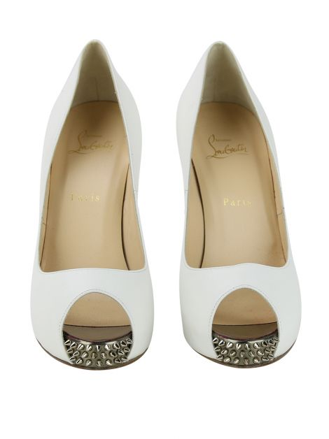 Sapato Christian Louboutin NVPS New Very Prive Spikes 120 Branco