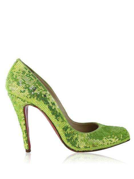 Sapato Christian Louboutin Pigalle Follies Sequin Verde
