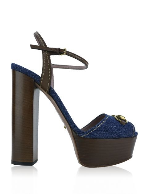 Sapato Gucci Claudine Horsebit Denim