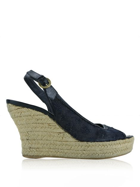 Sapato Louis Vuitton Denim Monograma Anabela