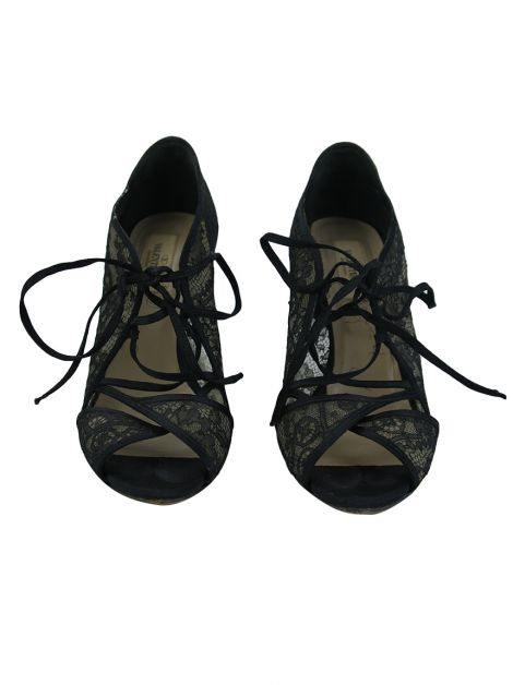 Sapato Valentino Lace Up Renda Preto
