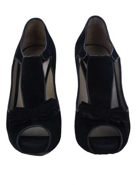 Sapato Valentino Suede Bow Cut-Out Preto