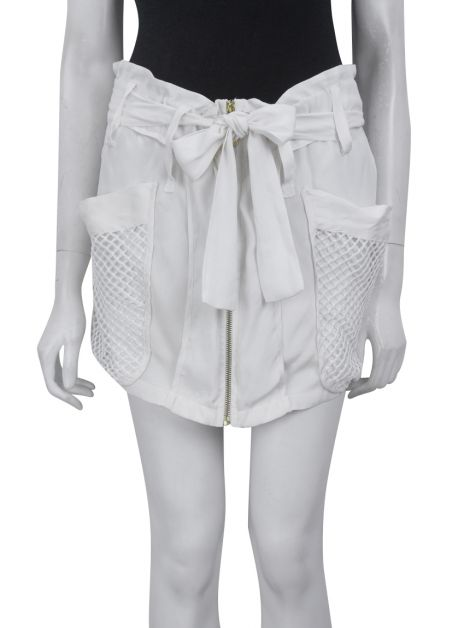 Shorts Mixed Detalhe Tela Off White