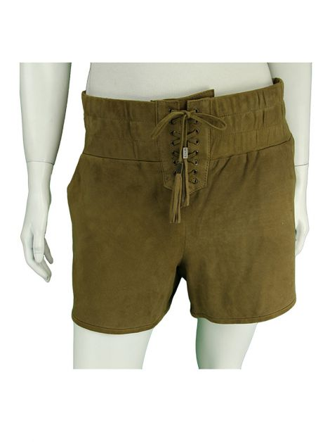 Shorts Mixed Suede Camelo