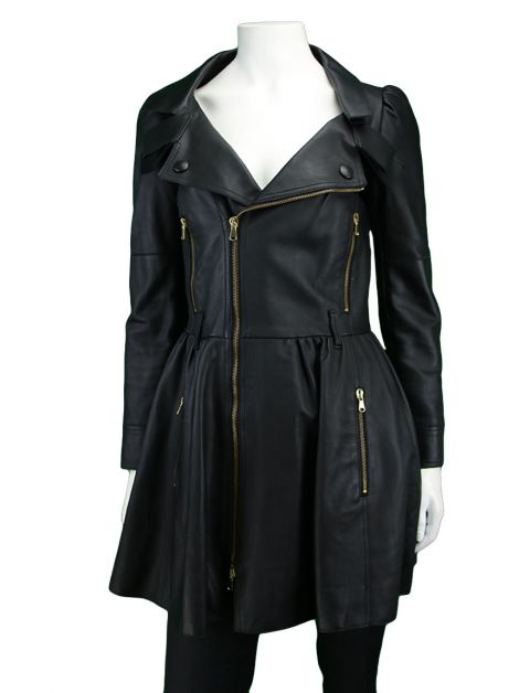 Trench Coat Red Valentino Couro Preto