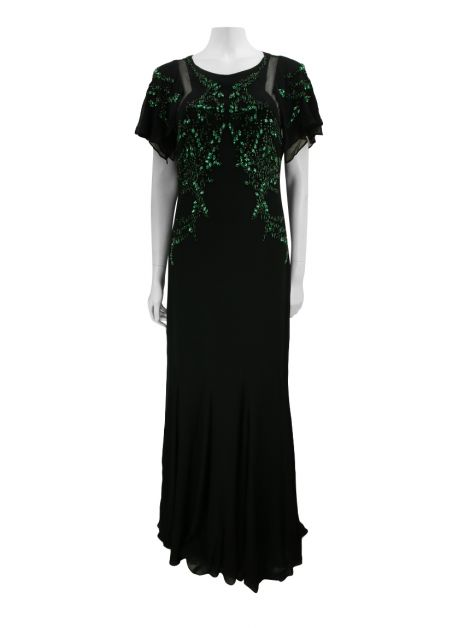 Vestido Badgley Mischka Preto Bordado Verde