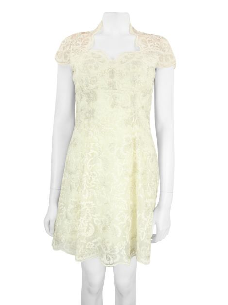 Vestido Marchesa Notte Renda Off White