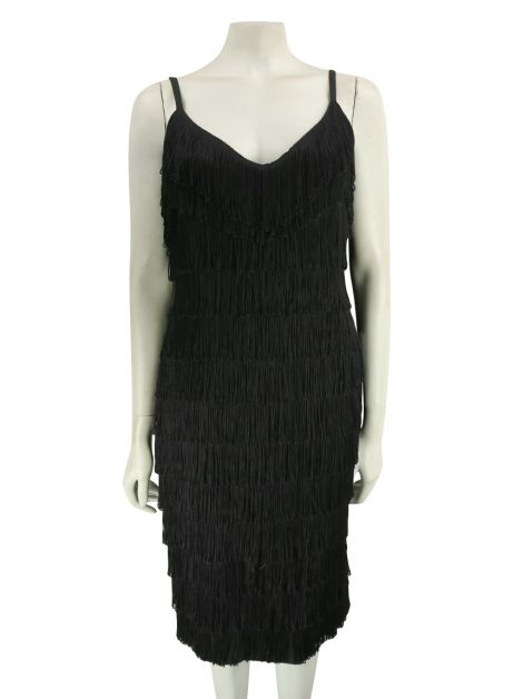 Vestido Mixed Collection Franjas Preto