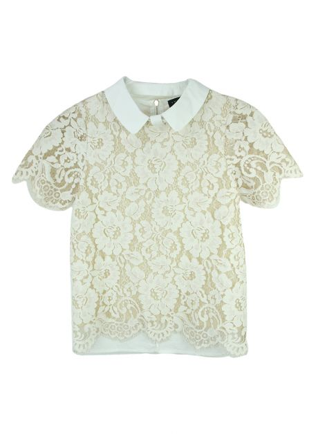 Blusa Twin Set Lace Creme Infantil