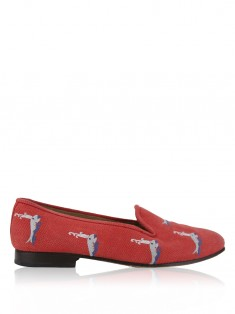 Loafer Stubbs & Wootton for J.Crew Palm Beach Tecido Coral