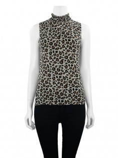 Blusa Mixed Gola Alta Animal Print
