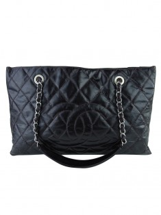 Bolsa Chanel Aged Glazed Nylon Quilted Shopping Tote