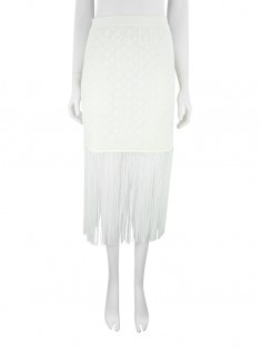 Saia Animale Renda Franjas Off White