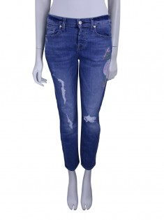 Calça Seven For All Mankind Josefina Boyfriend Bordada Jeans