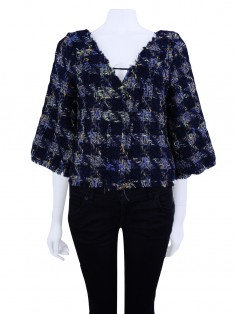 Blusa Animale Tweed Cropped Colorido