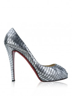 Sapato Christian Louboutin New Very Prive Embossed Chumbo