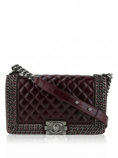 Bolsa Chanel Boy Chained Medium Burgundy