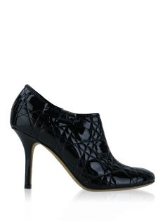 Ankle Boot Christian Dior Verniz Cannage Preto