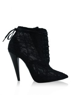 Ankle Boot Saint Laurent Era 110 Renda Preta