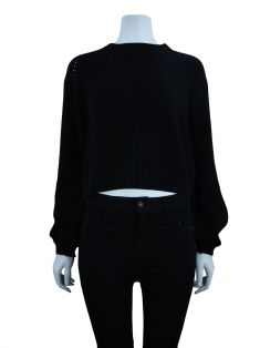 Blusa Mixed Tricot Cropped Preto