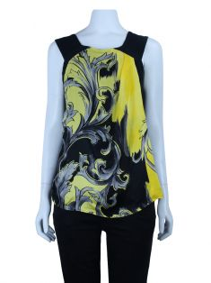 Blusa Versace Collection Estampada Amarelo e Preto