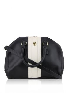 Bolsa Tory Burch Black Robinson Striped Middy Preto e Branco