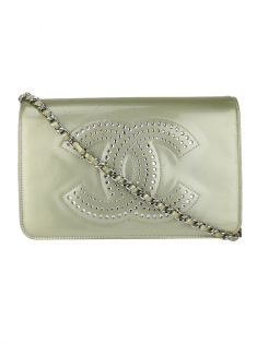 Bolsa Chanel Patent Strass Wallet On Chain WOC Silver