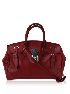 Bolsa Ralph Lauren Nappa Leather Soft Ricky Vermelha