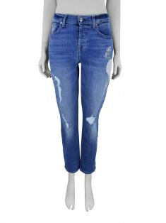 Calça Seven For All Mankind Jeans Bordada Azul