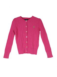 Cardigan Polo Ralph Lauren Cable Knit Rosa Infantil