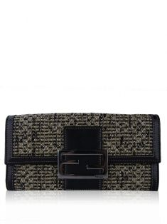 Carteira Fendi Embossed Woven Leather