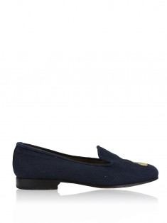 Loafer Stubbs & Wootton for J.Crew Palm Beach Tecido Azul Marinho